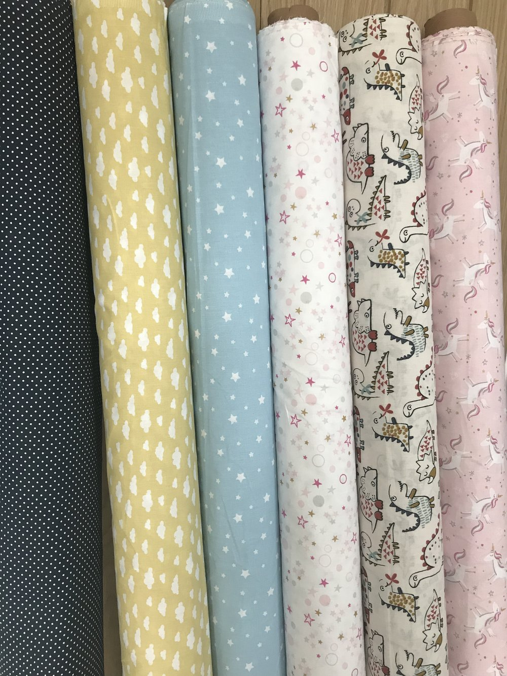 Some of our first BibbilyBoo fabrics the day they arrived!