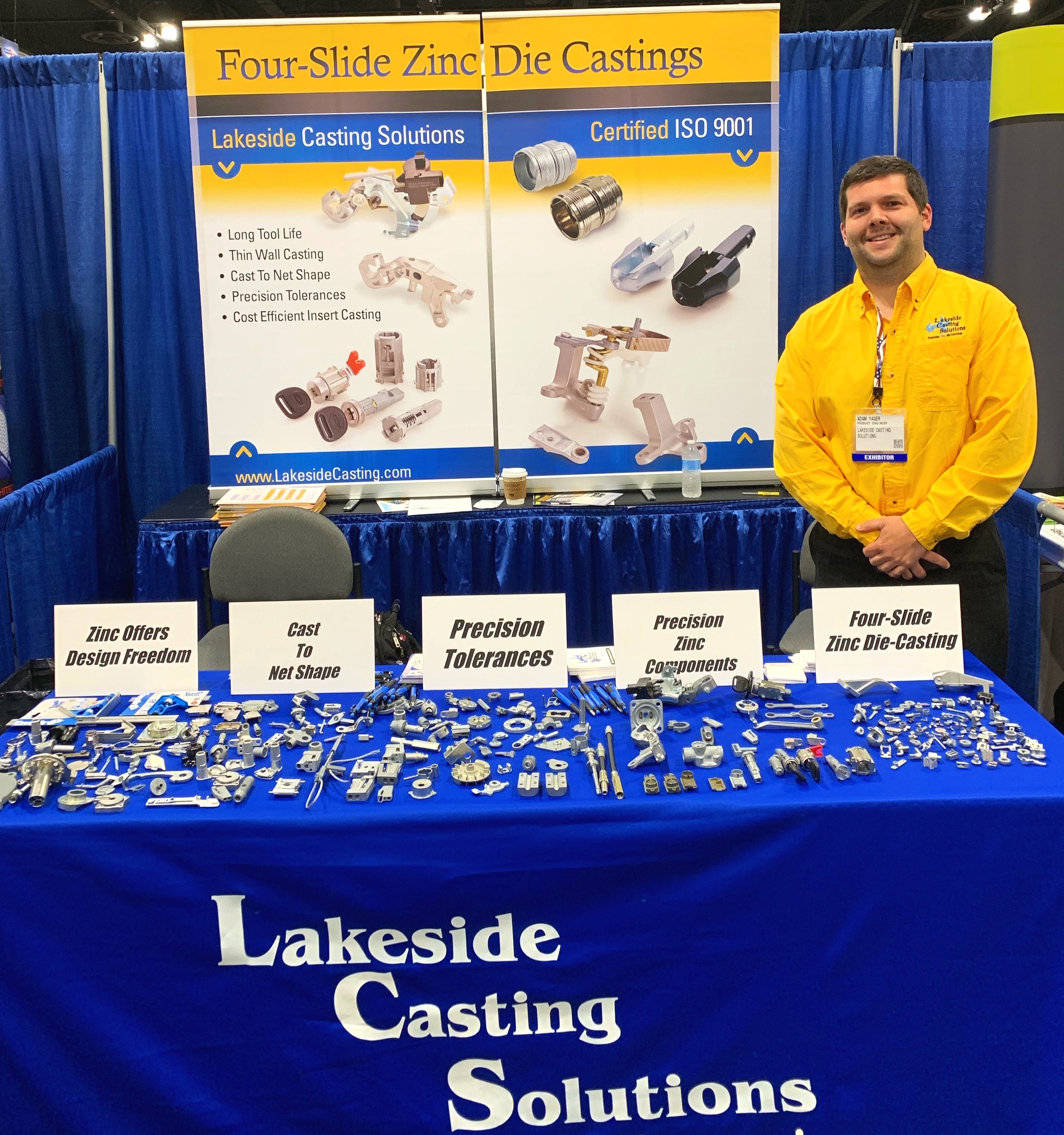 Adam Yager, one of Lakeside's engineers, at the Greater Chicago Design2Part show 2019