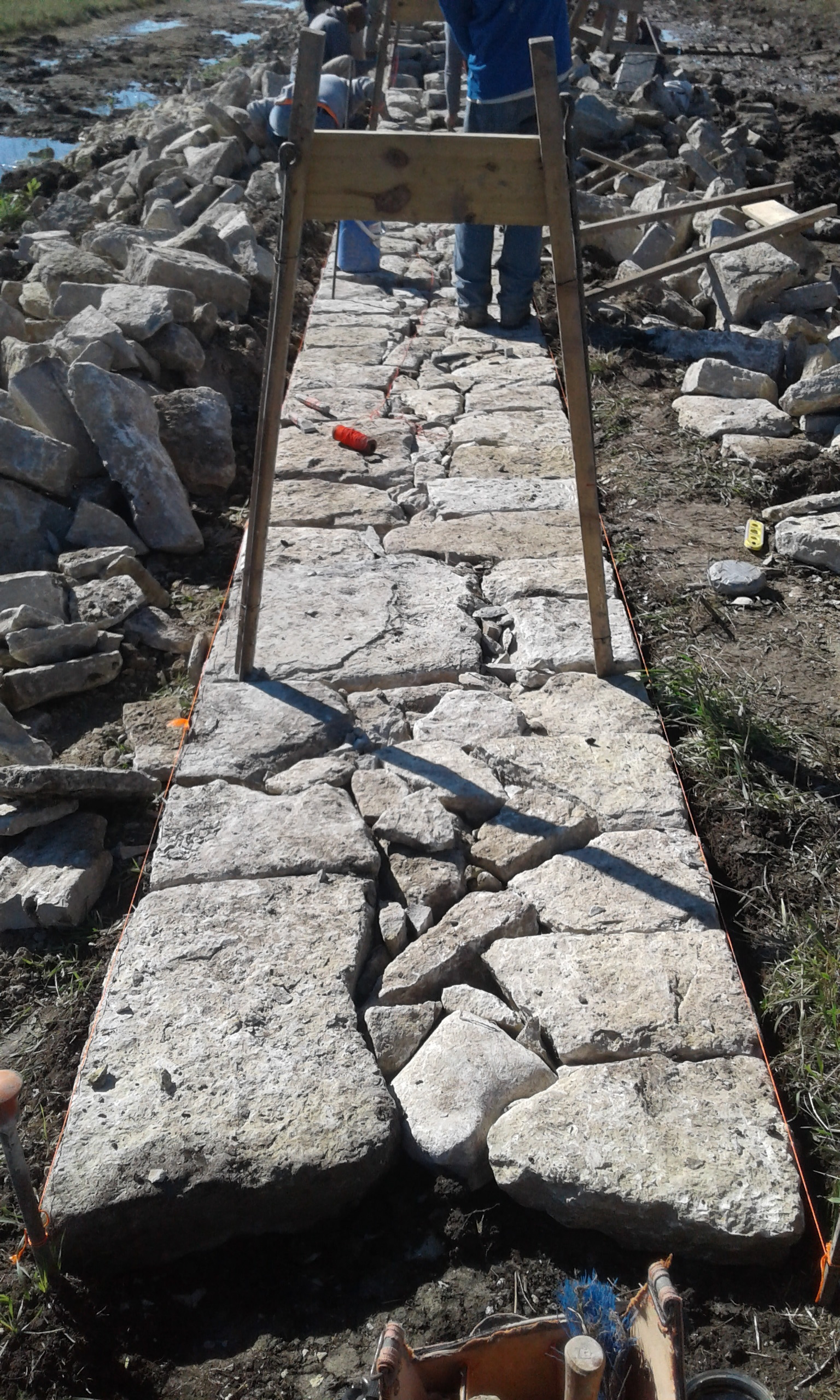Foundation of a dry stone rock fence.