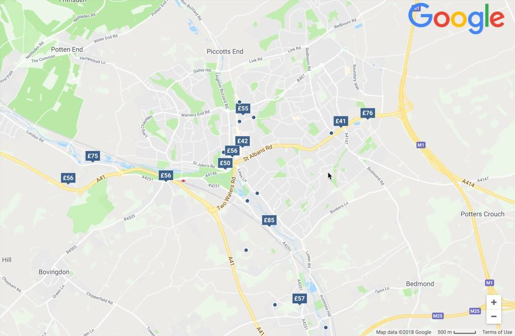 Hotels on Google in the same area