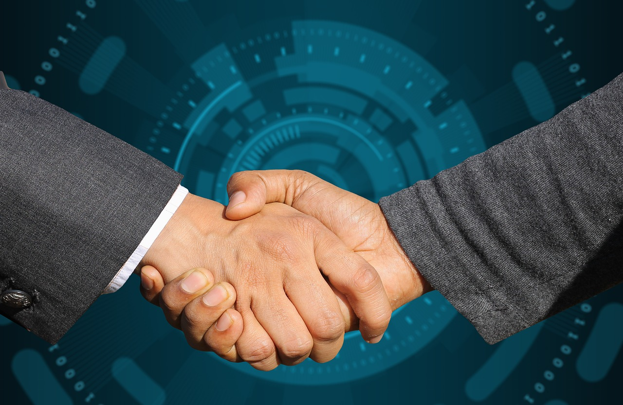 business hand shake with AI Abstract Background