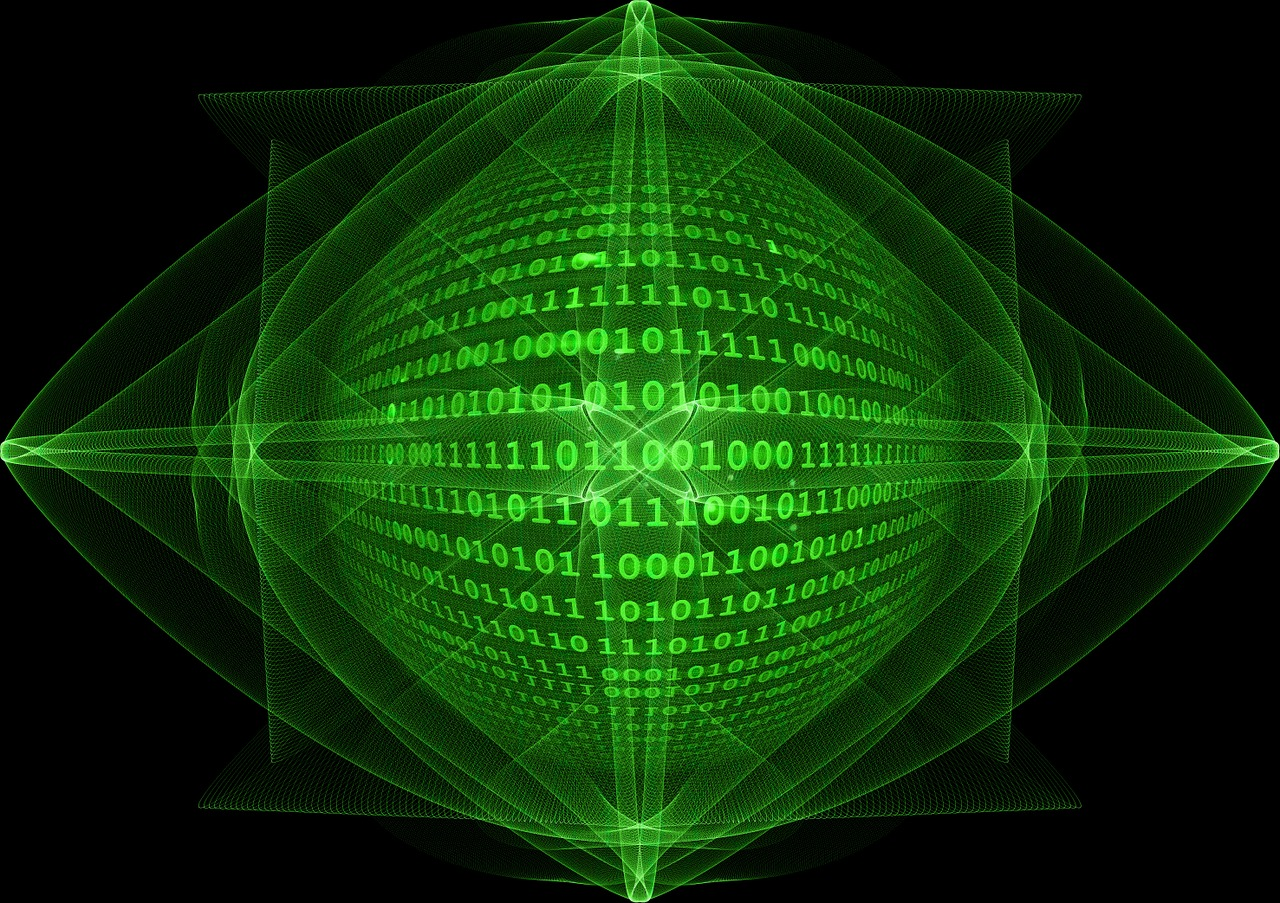 Green Abstract of a Data Globe with Code