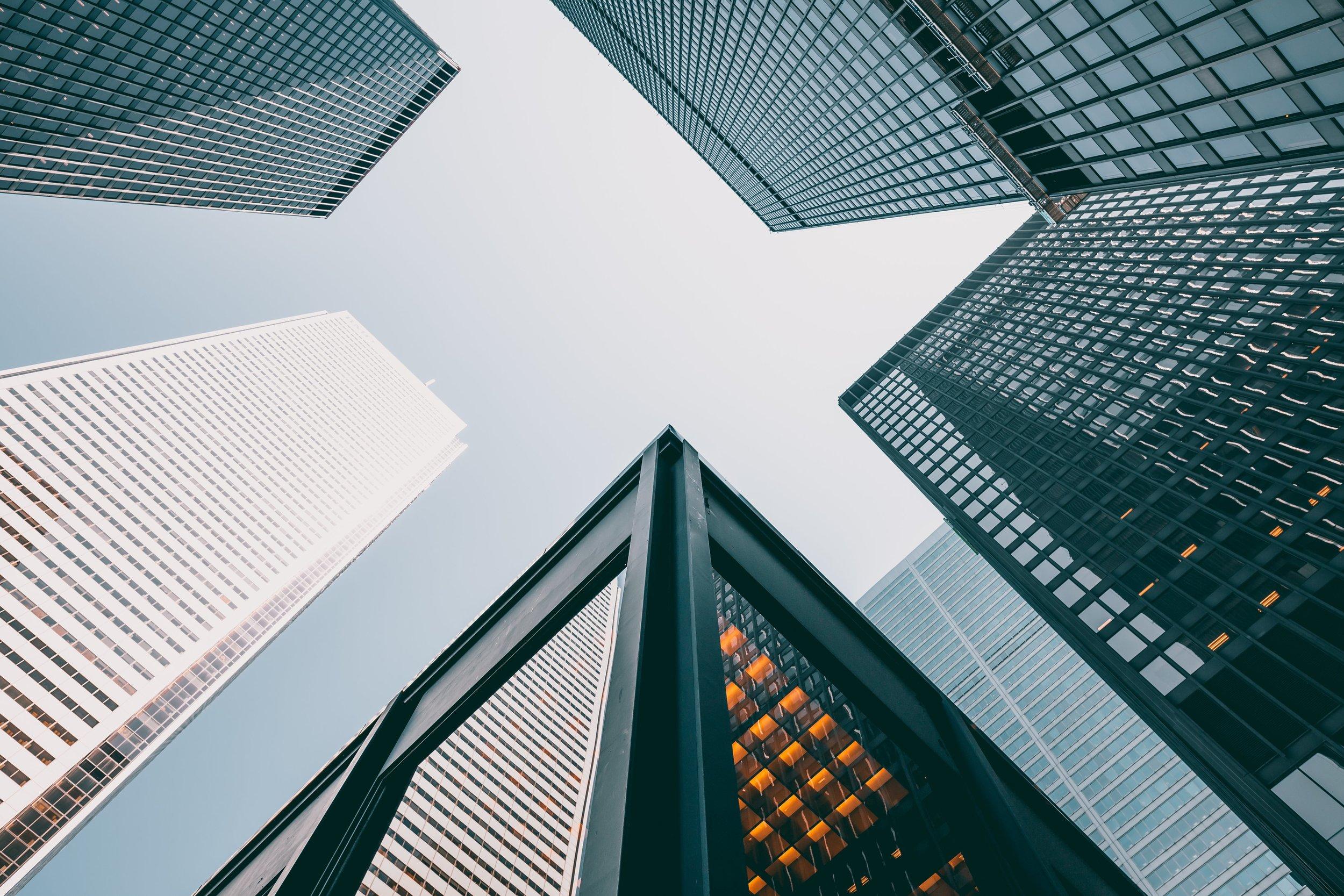 skyscrapers looking up