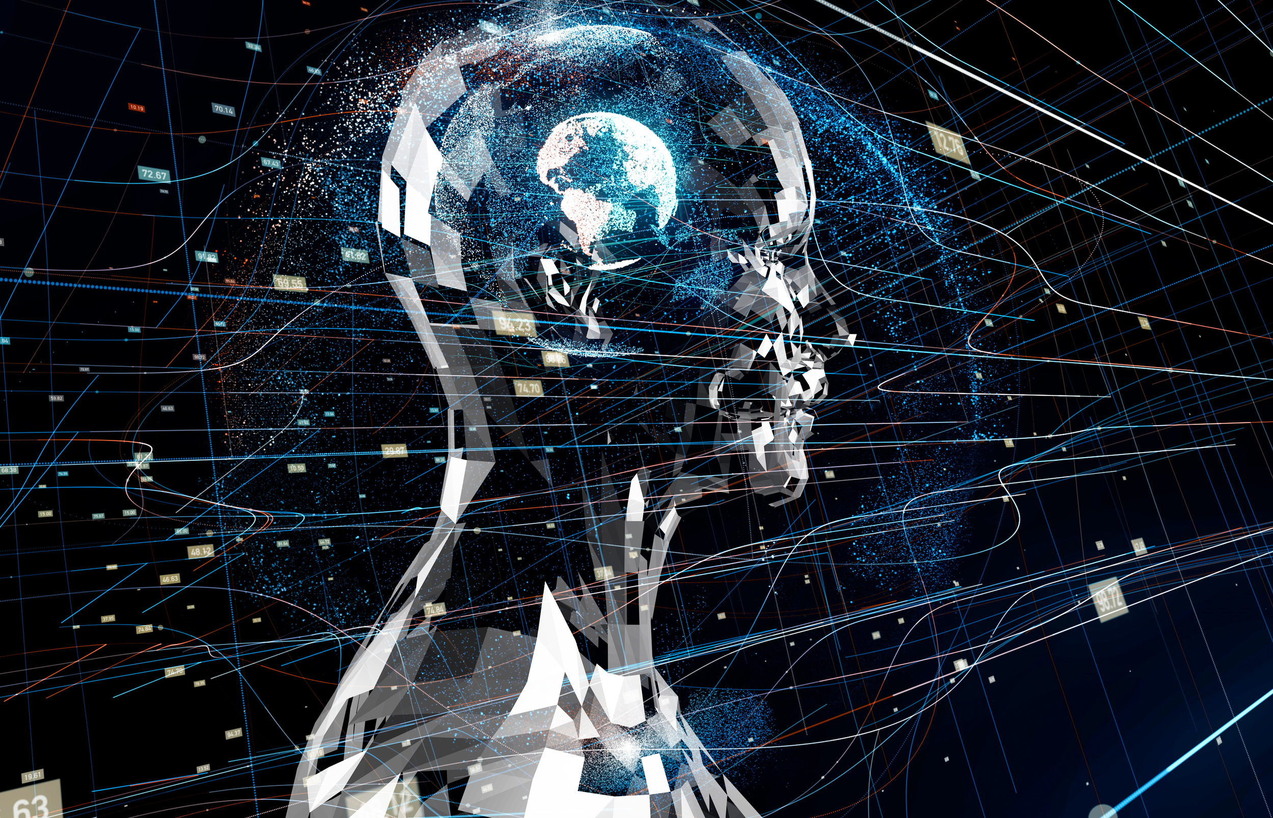 Abstract AI Robot with Global Brain