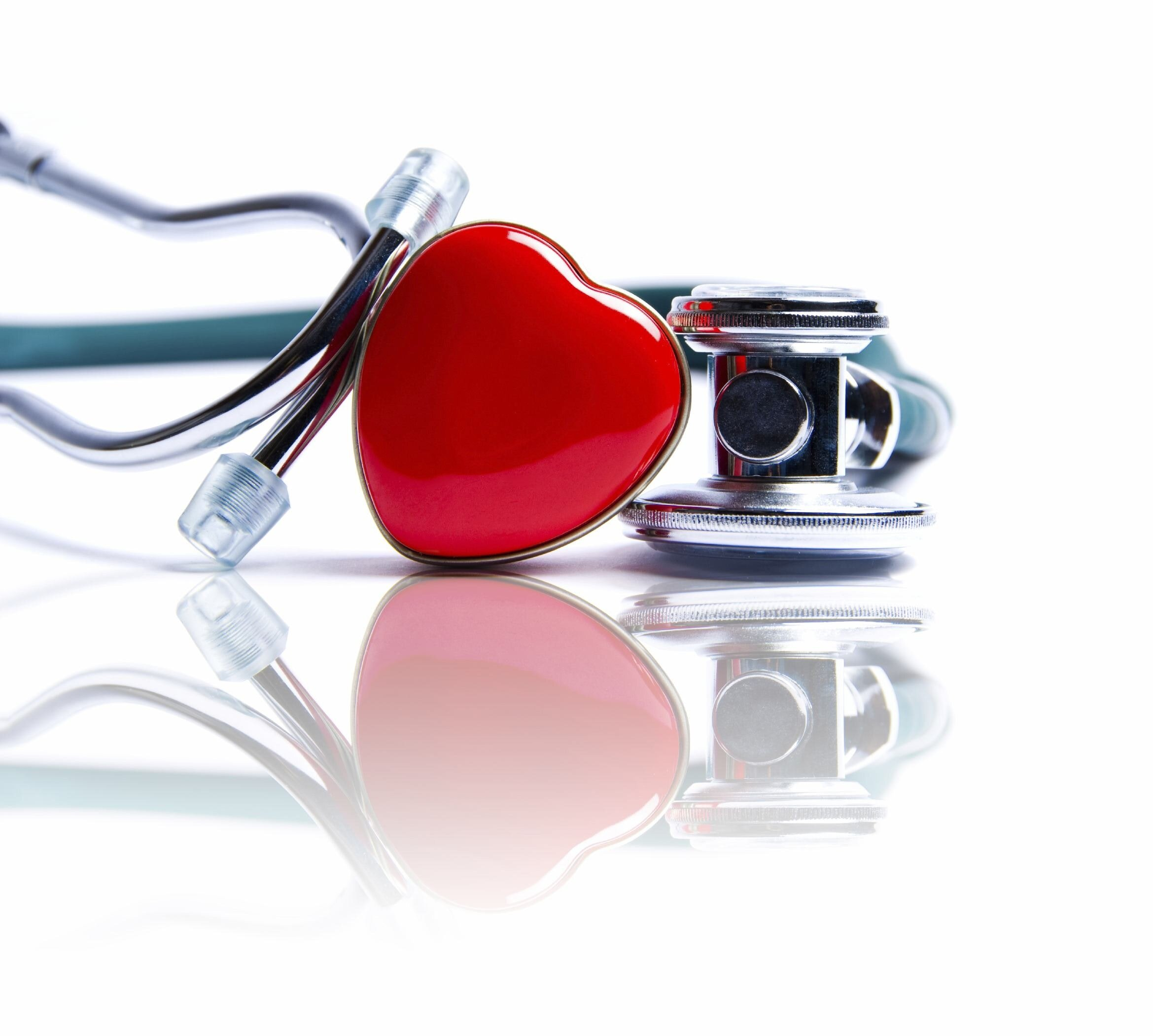Stethoscopes with Heart Representing Healthcare Industry