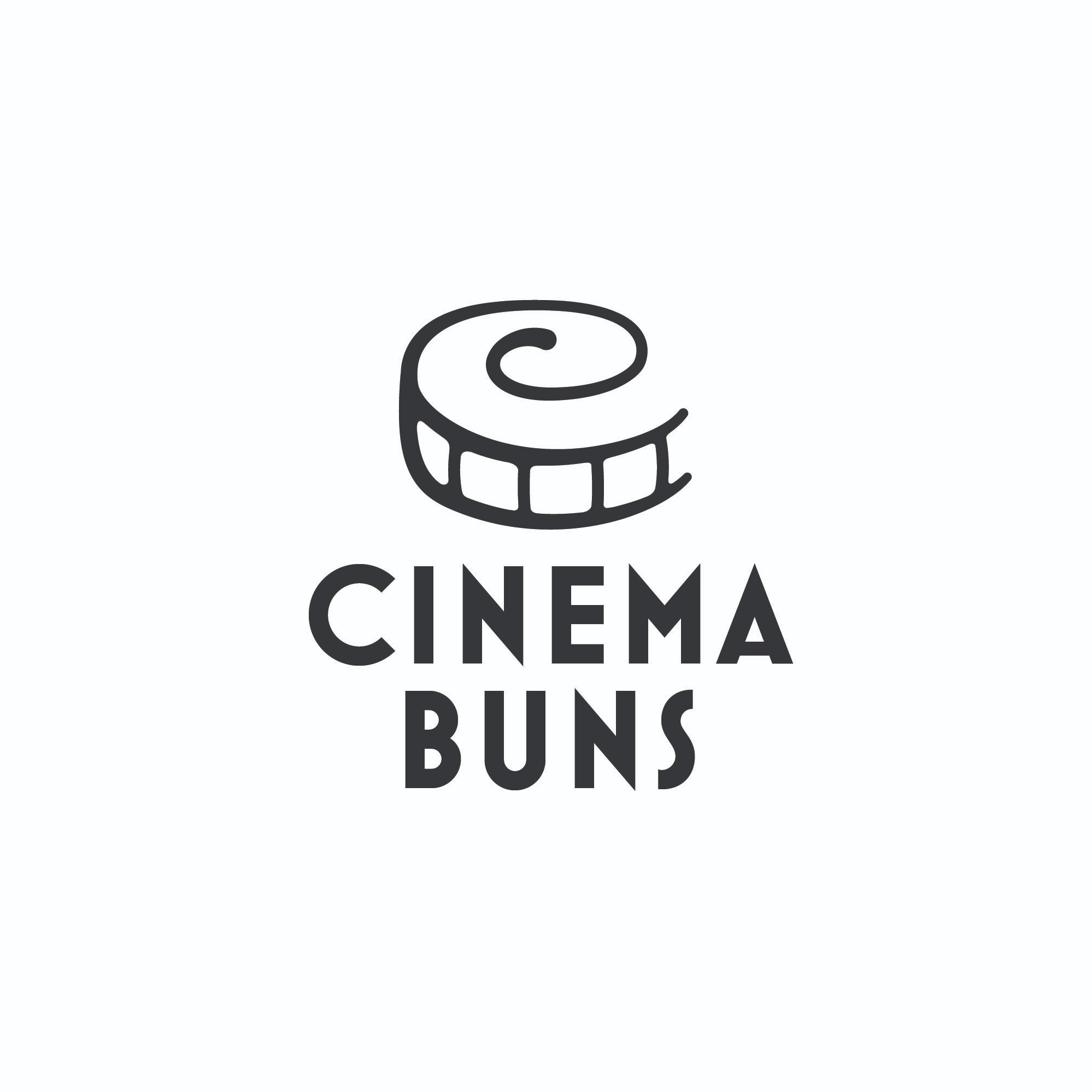 Final Logo - For the final logo, I decided to create a design that really captured the image of a cinnamon bun. I also wanted to add in the image of a film strip that finished the shape of the bun. I wanted the finished logo to be inviting and friendly. Choosing a sharp typeface for the logo type compliments the organic shape of the logo itself.