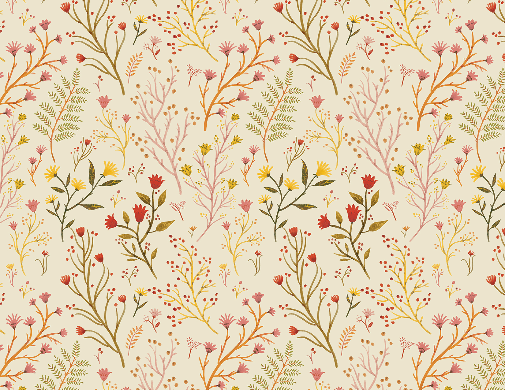 Meadow flowers pattern. Textile illustration. / 2019