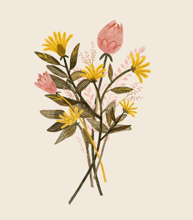 Meadow flowers bouquet. Graphic ilustration for textile. / 2019