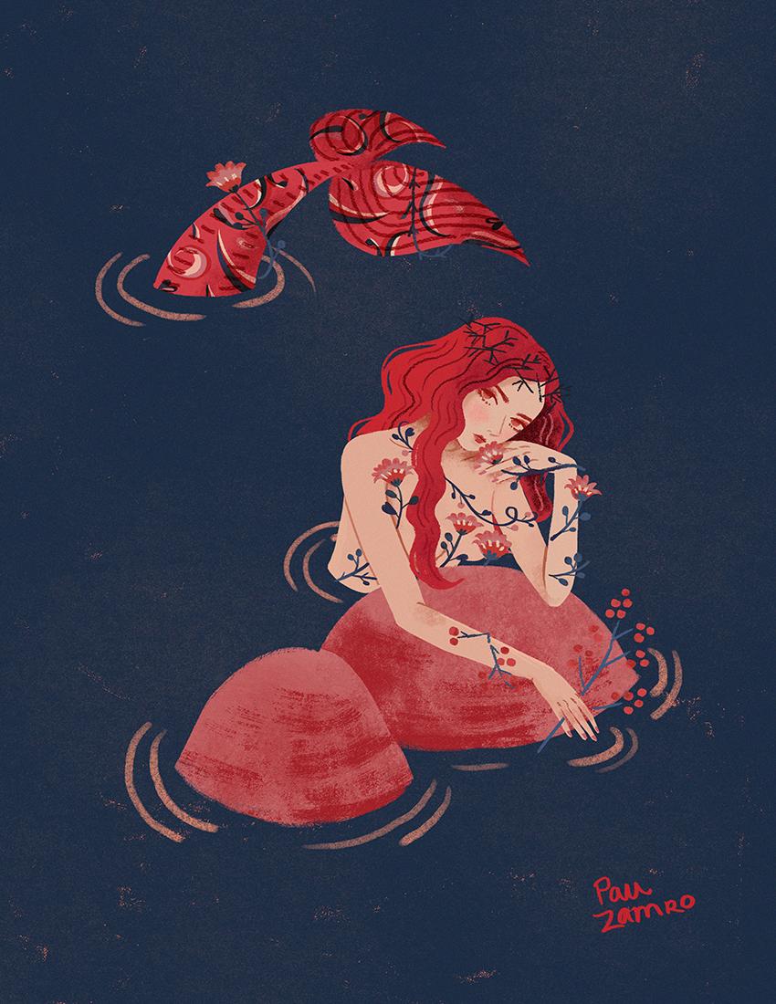 Series of mermaid illustrations. photoshop / 2019