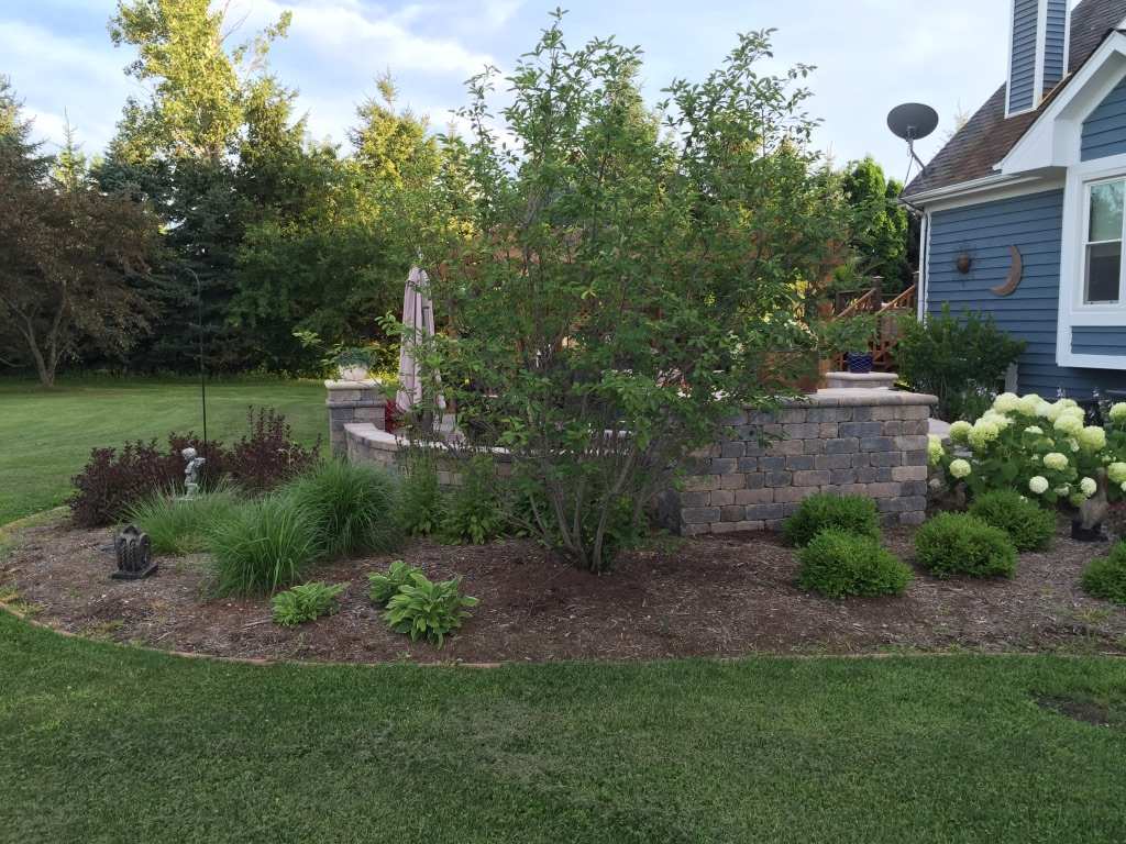 Landscape design with brick patio in Peotone, IL