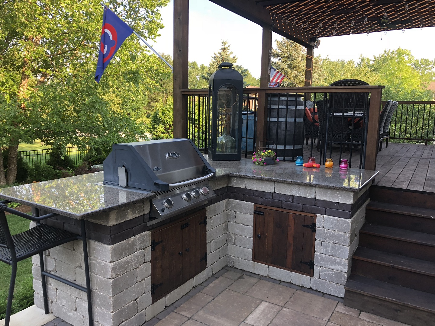 Peotone, Illinois landscaping services, including outdoor kitchen installation