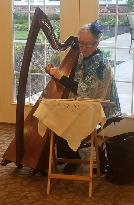 Harpist Maia Chisholm plays in our dining room.jpg
