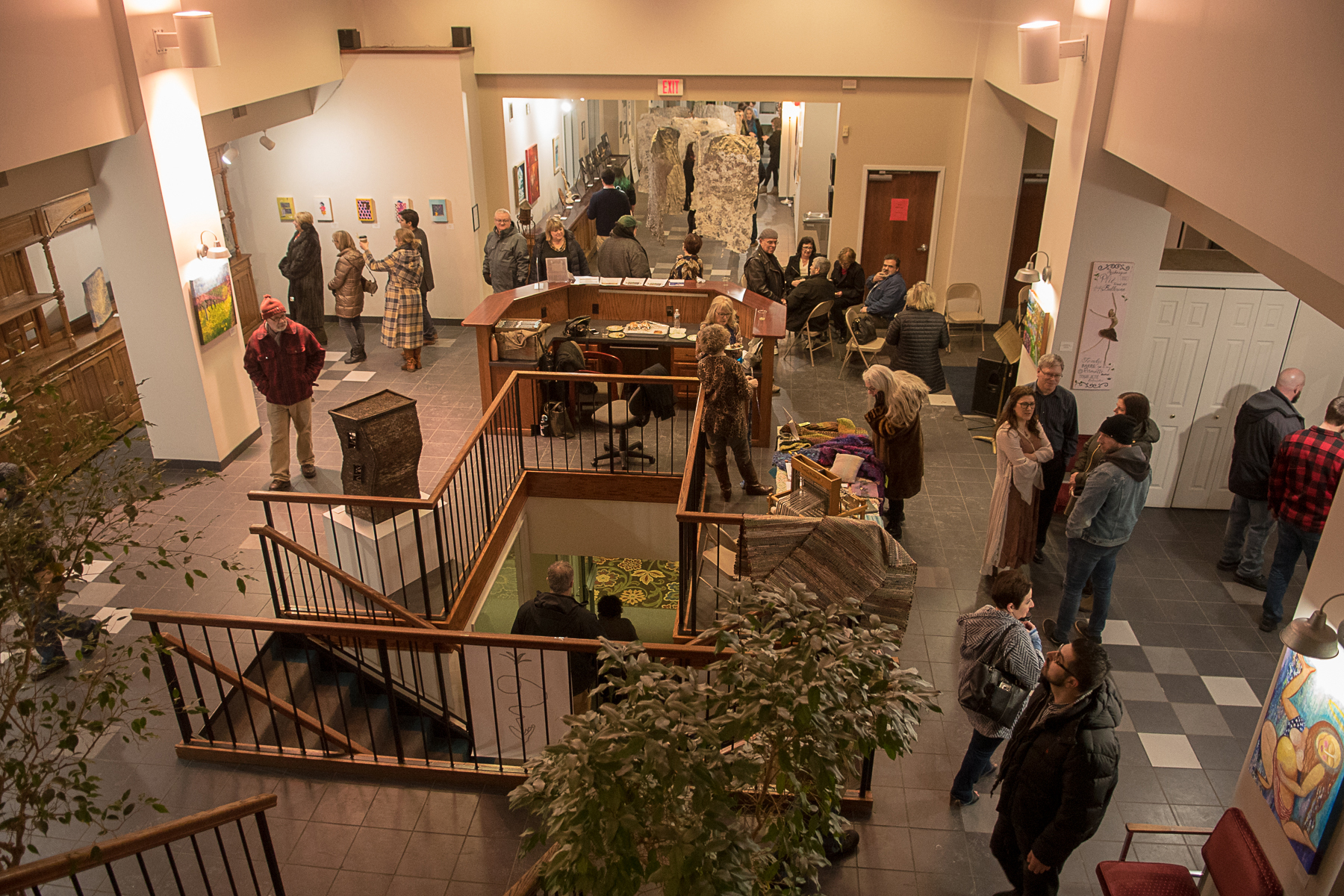 This is a view of the gallery space, Look at AWE Gallery at the Palace Center for current works on view. Look at the community page for past shows.