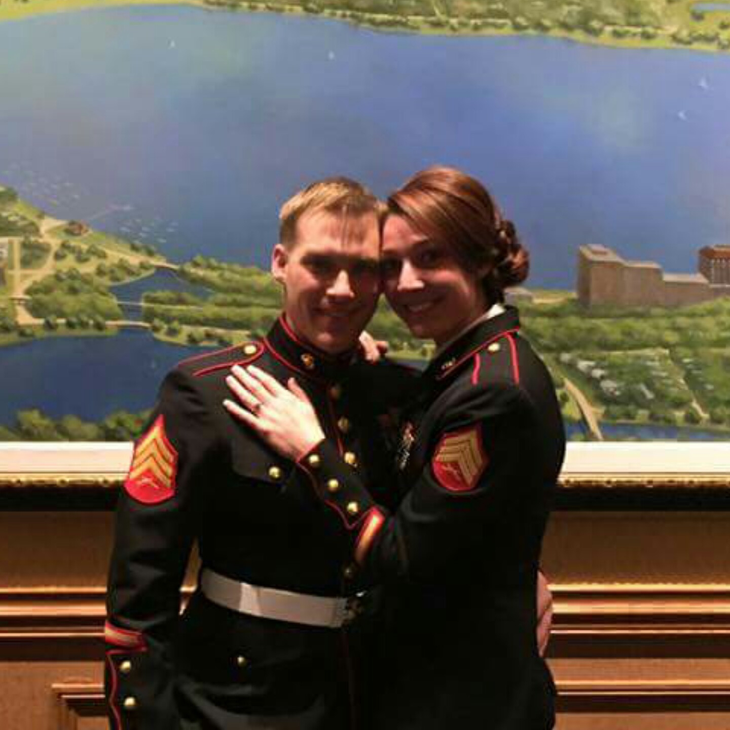 She was born into a military family. Justine and her husband, Levi are Marines.