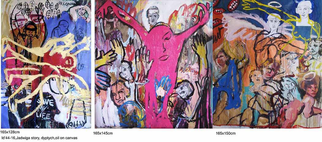 Jadwiga's story, tryptych, oil on canvas, 165x423cm, 2016-18