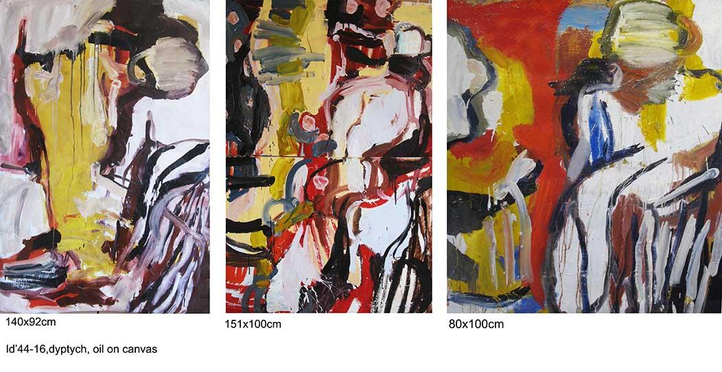 Daniela's story, 140x92cm; 151x100cm;80x100cm, tryptych, oil on canvas, 2016-18