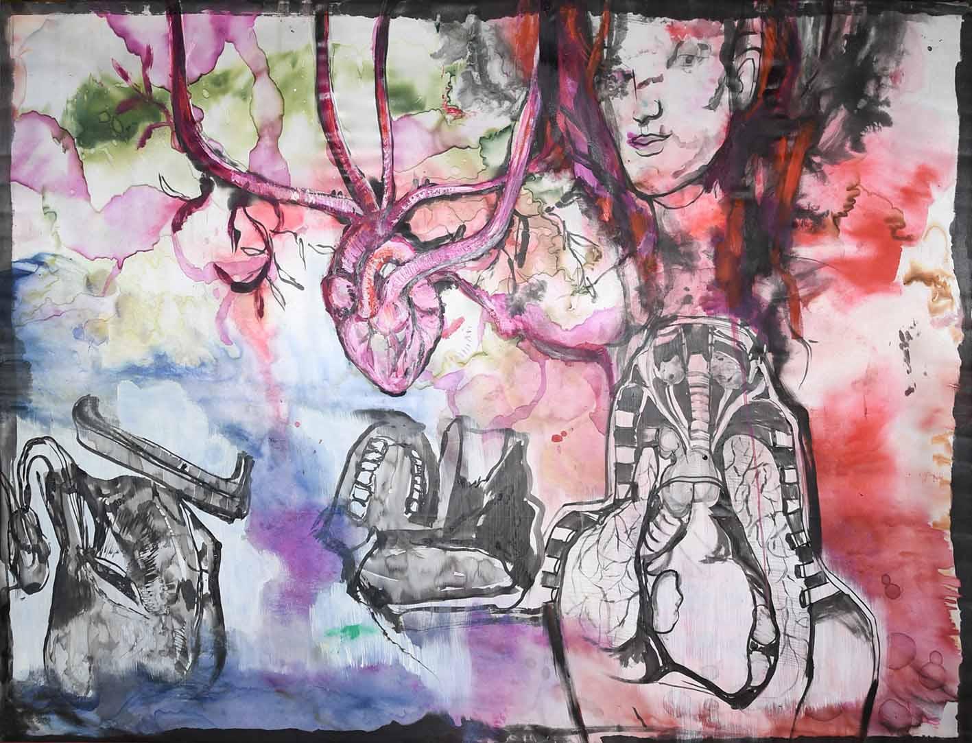 ID Life Tapestries No14, 141x108cm, mixed media on silk, 2018