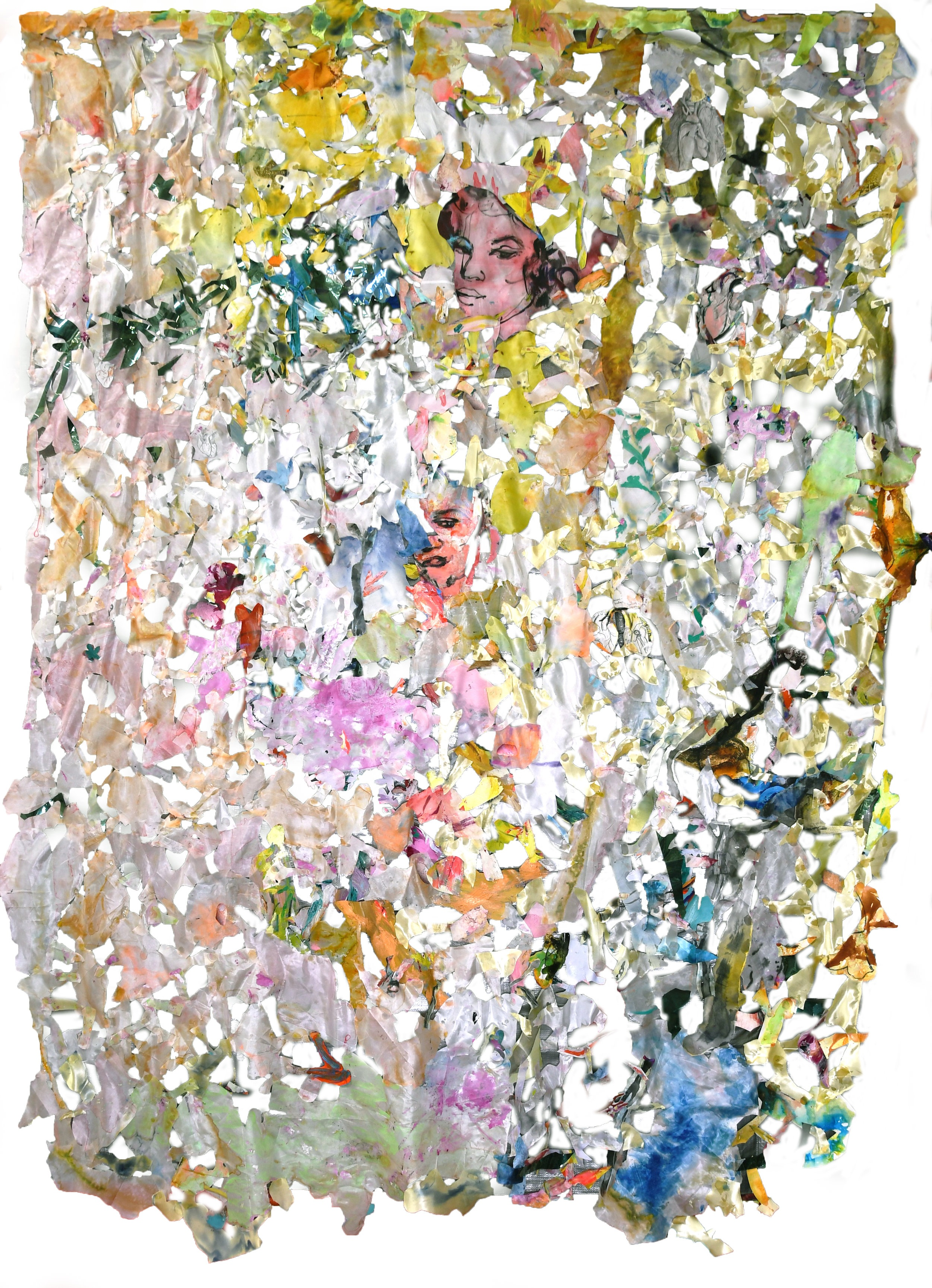 Id Life Tapestry No 30, collage, silk, glue, thread, 240x150cm, 2018