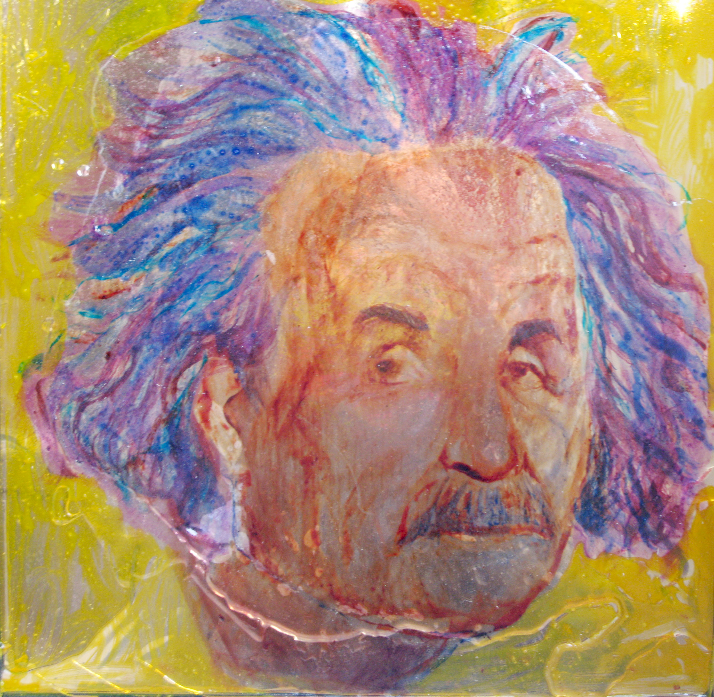 Einstein, 50x50cm, paint on glass
