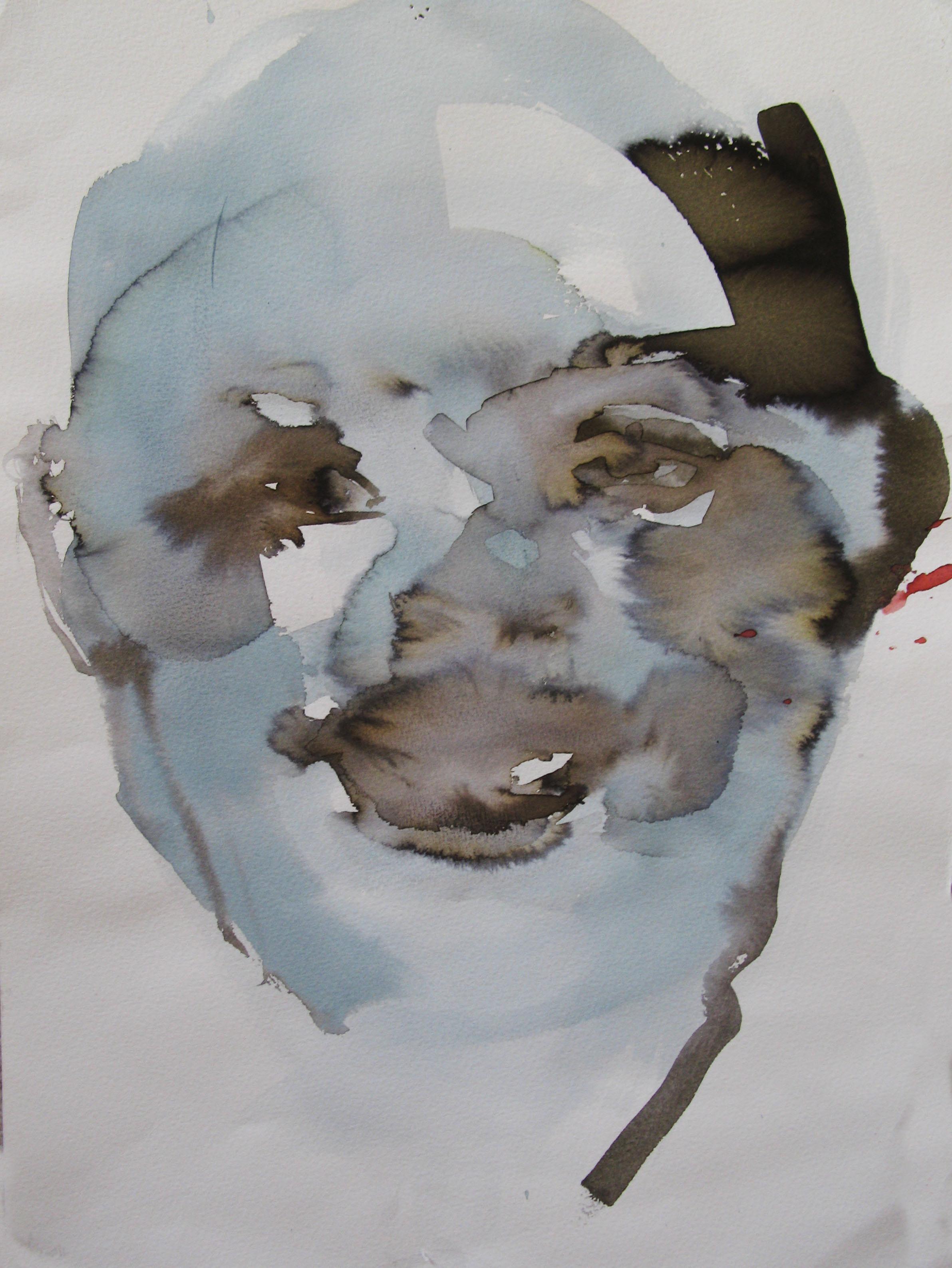 Portrait, Blue,  42x29.7cm  watercolour, ink on paper  2019