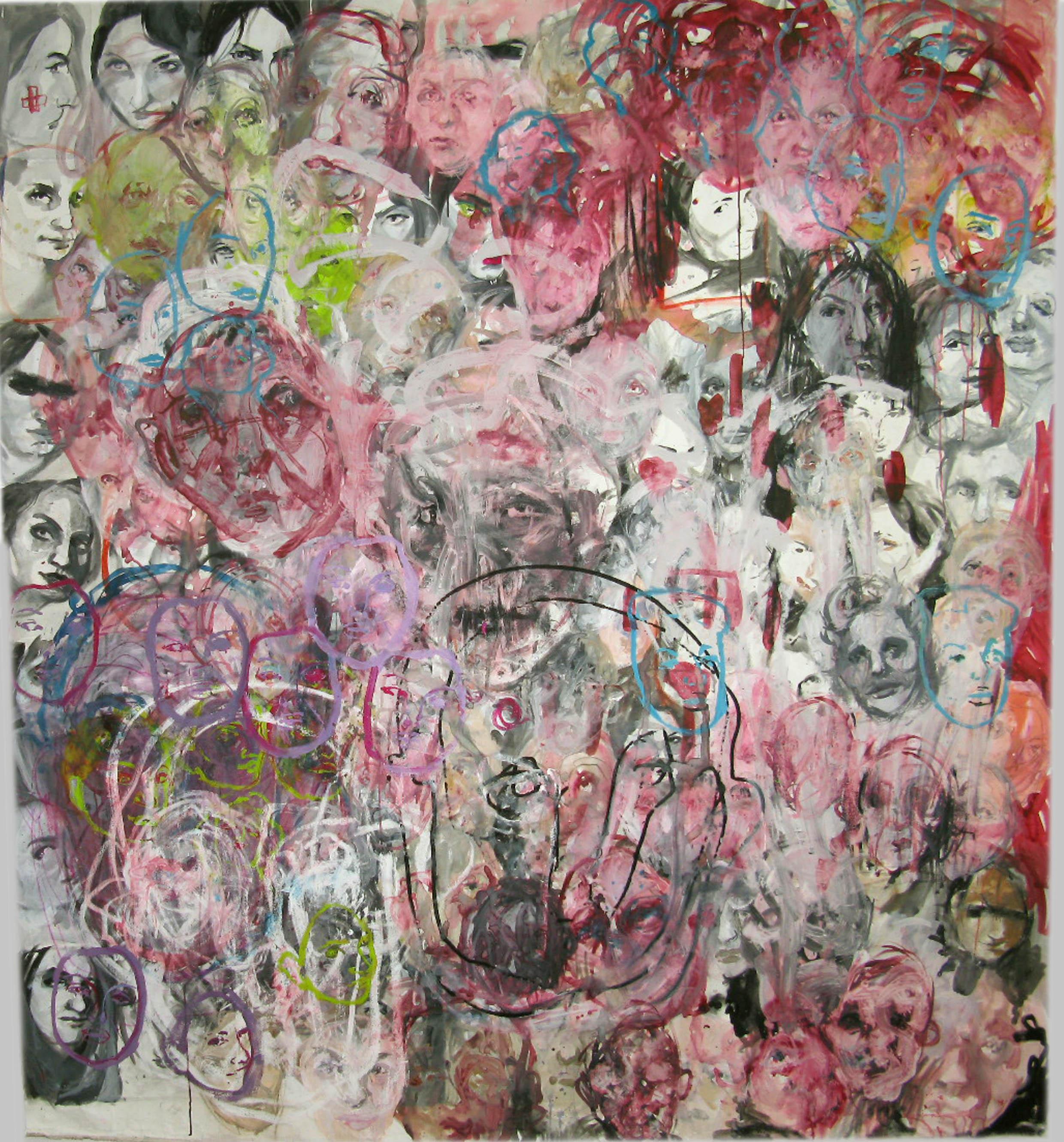 Heads No1, oil, gouache on canvas, 190x190cm, 2010-2019
