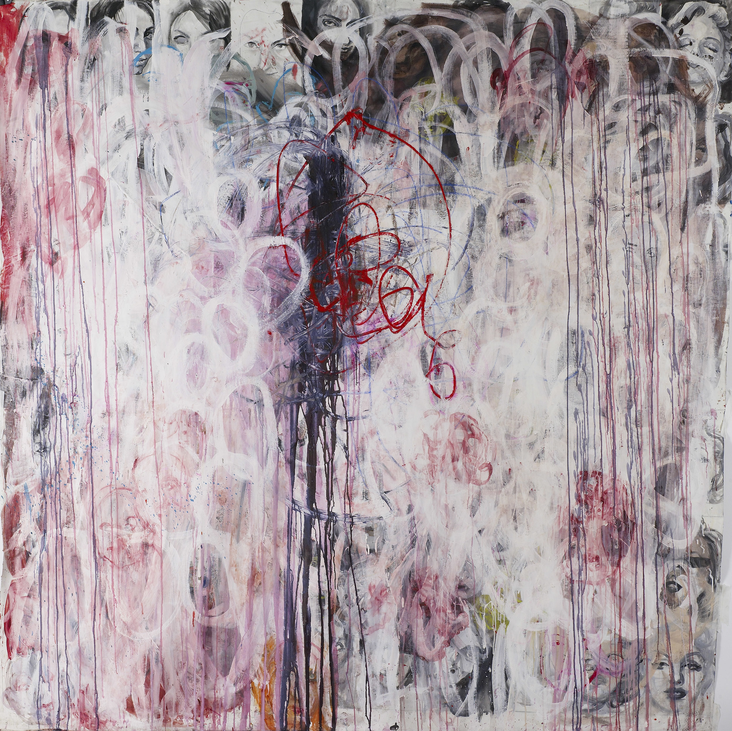 Heads No2, oil, gouache on canvas, 190x190cm, 2010-2019
