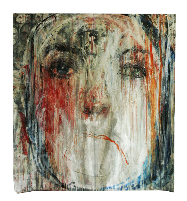 Heads No7, oil, gouache on canvas, 190x190cm, 2010-2019