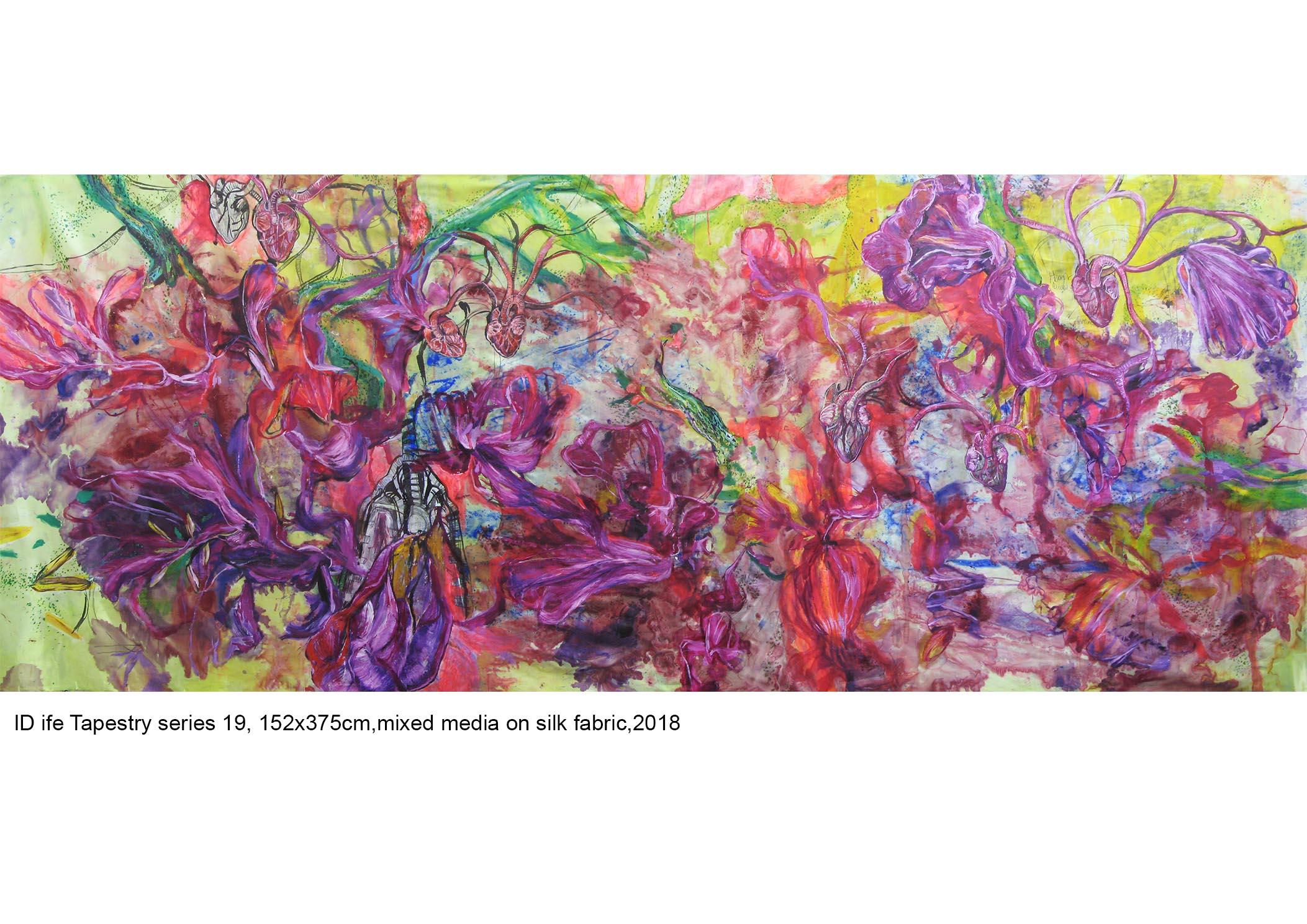 Id Life Tapestry, mixed media on silk fabric, 152x375cm, 2018-19