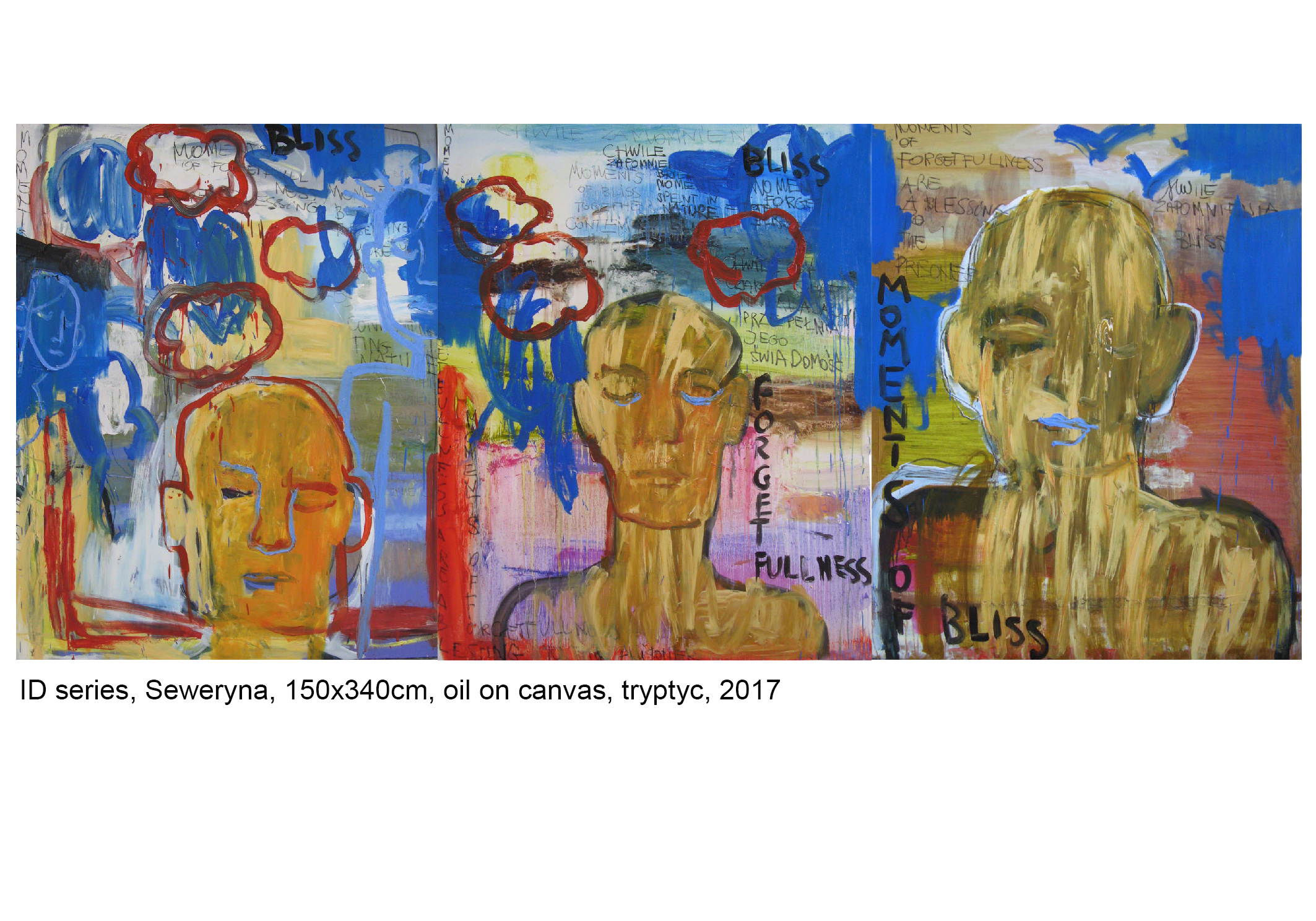 Seweryna's story, tryptych, oil on canvas, 150x340cm, 2017