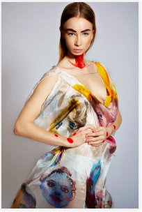 - And here is my hand painted and designed by me famous dress which was stolen at PACHA club from a locker room.What a bad karma to steal.Model Emilia Rose Arno