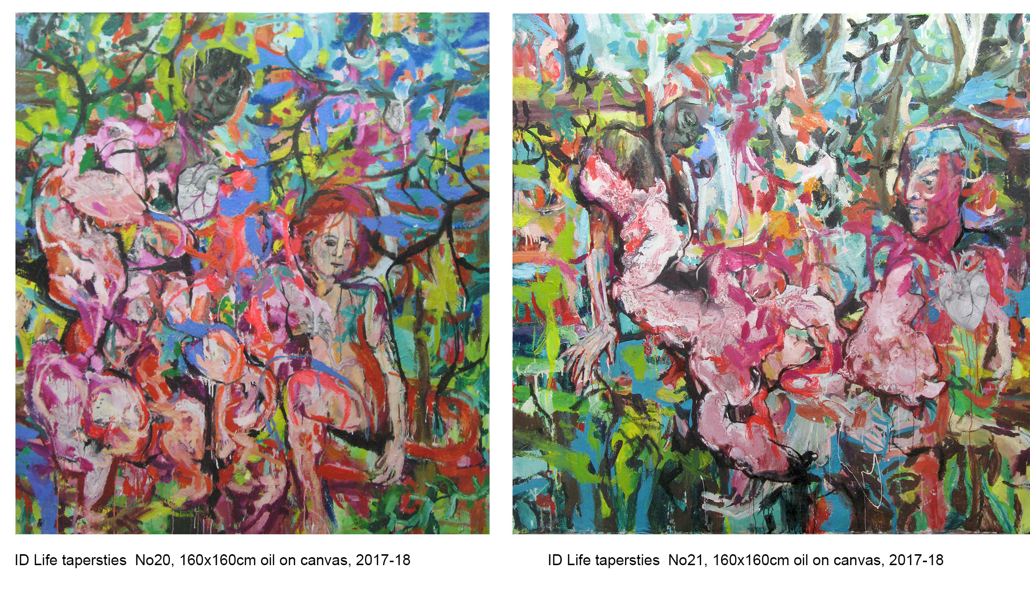 Life tapestries, dyptych, No 20, 21'; 160x160cm' 160x160cm, oil on canvas, 2017-18