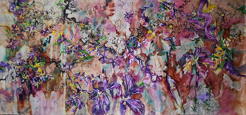 Life Tapestries 10,335x144cm, mided media on silk fabric,2018