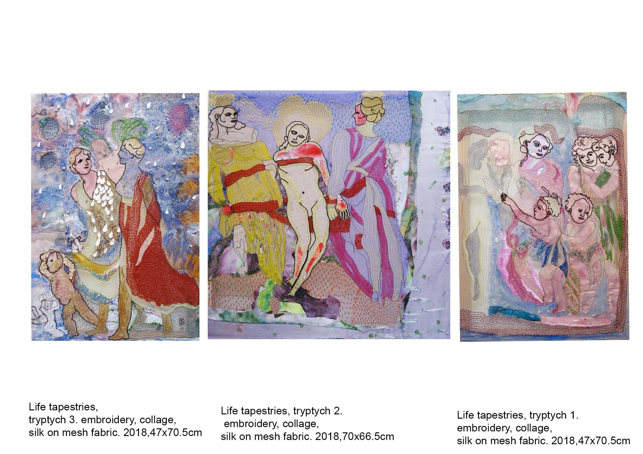 Life tapestries, tryptych, 47x70.5cm; 70x65.5cm; 47x70.5cm; embroidery, swarovski crystals silk fabric glue, 2017-18,