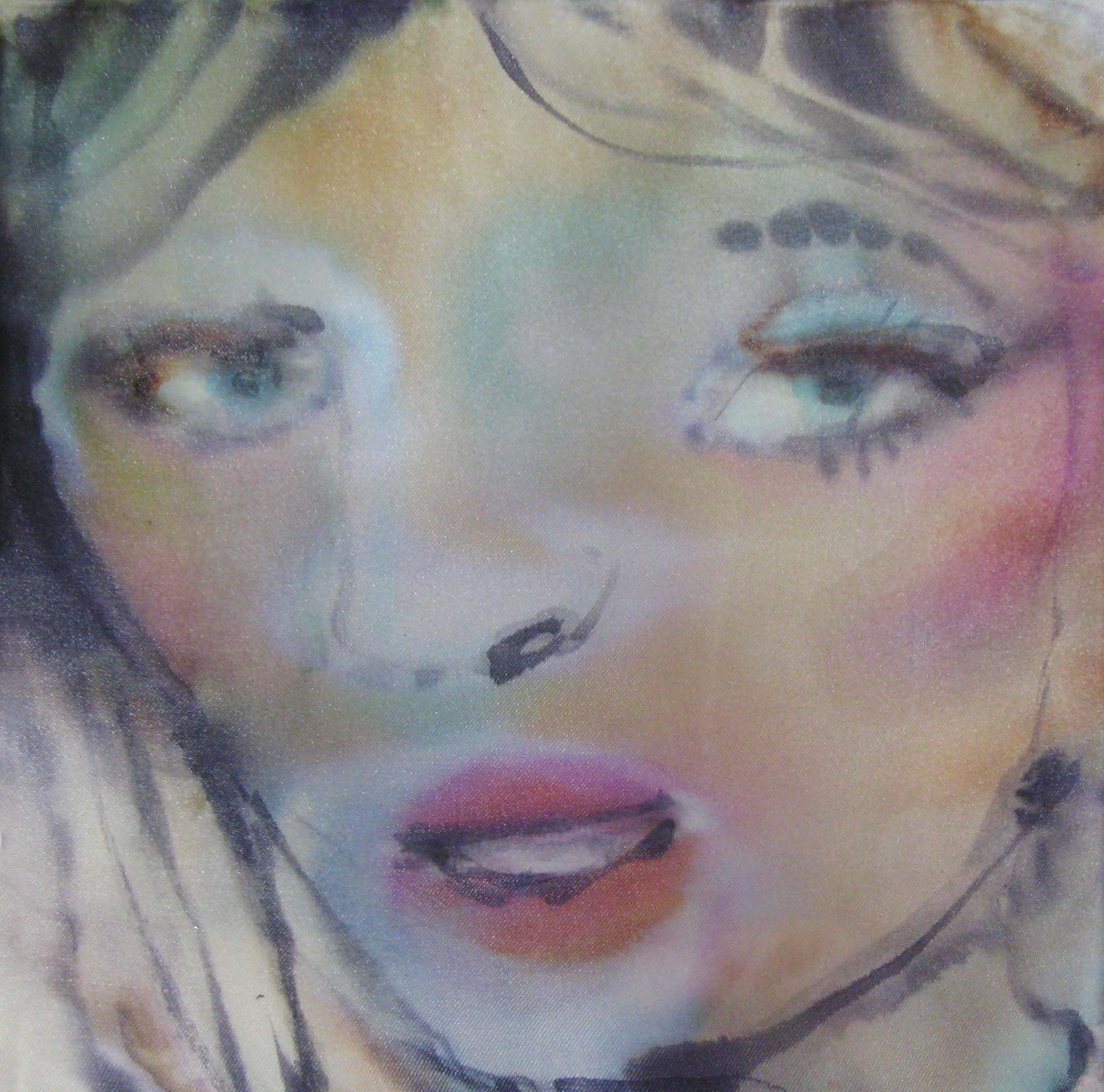 colour prescriptions, faces 6, 20x20cm, ink, watercolour on silk fabric,2019.jpg