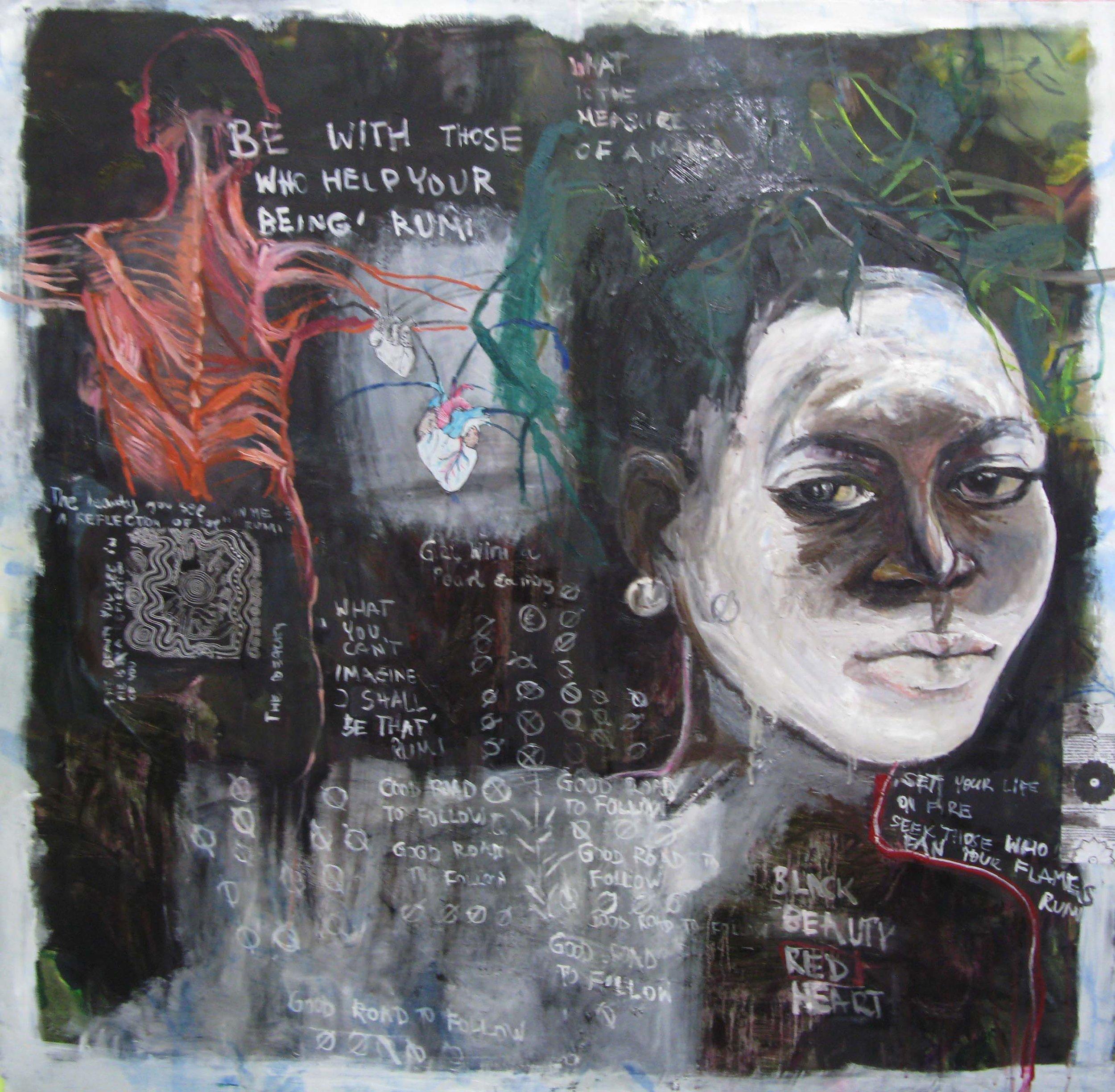 Id Life Tapestries 38, 130x130cm, oil, mixed media on silk fabric