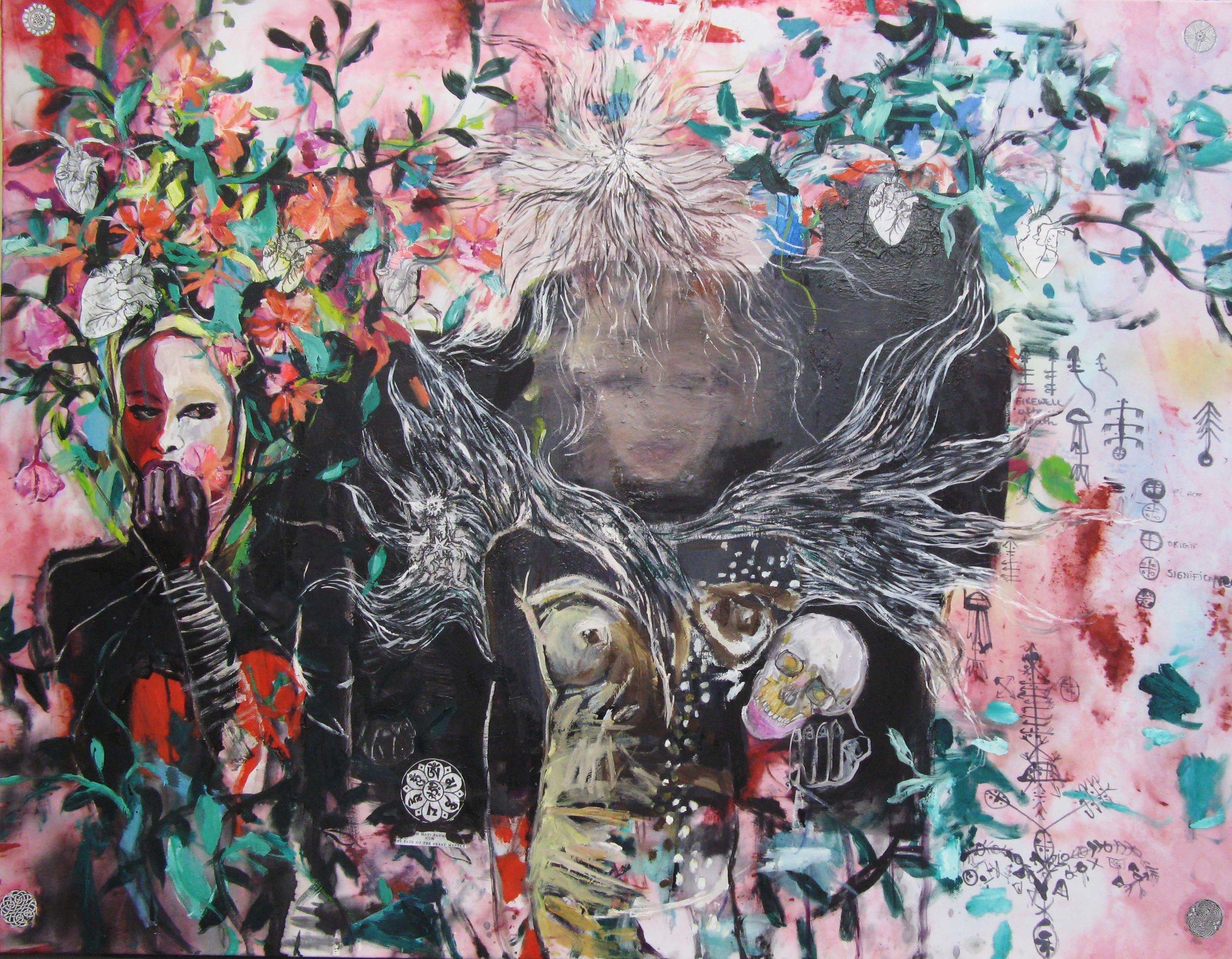 Id Life Tapestries 40, 110x100cm, oil, mixed media on silk fabric