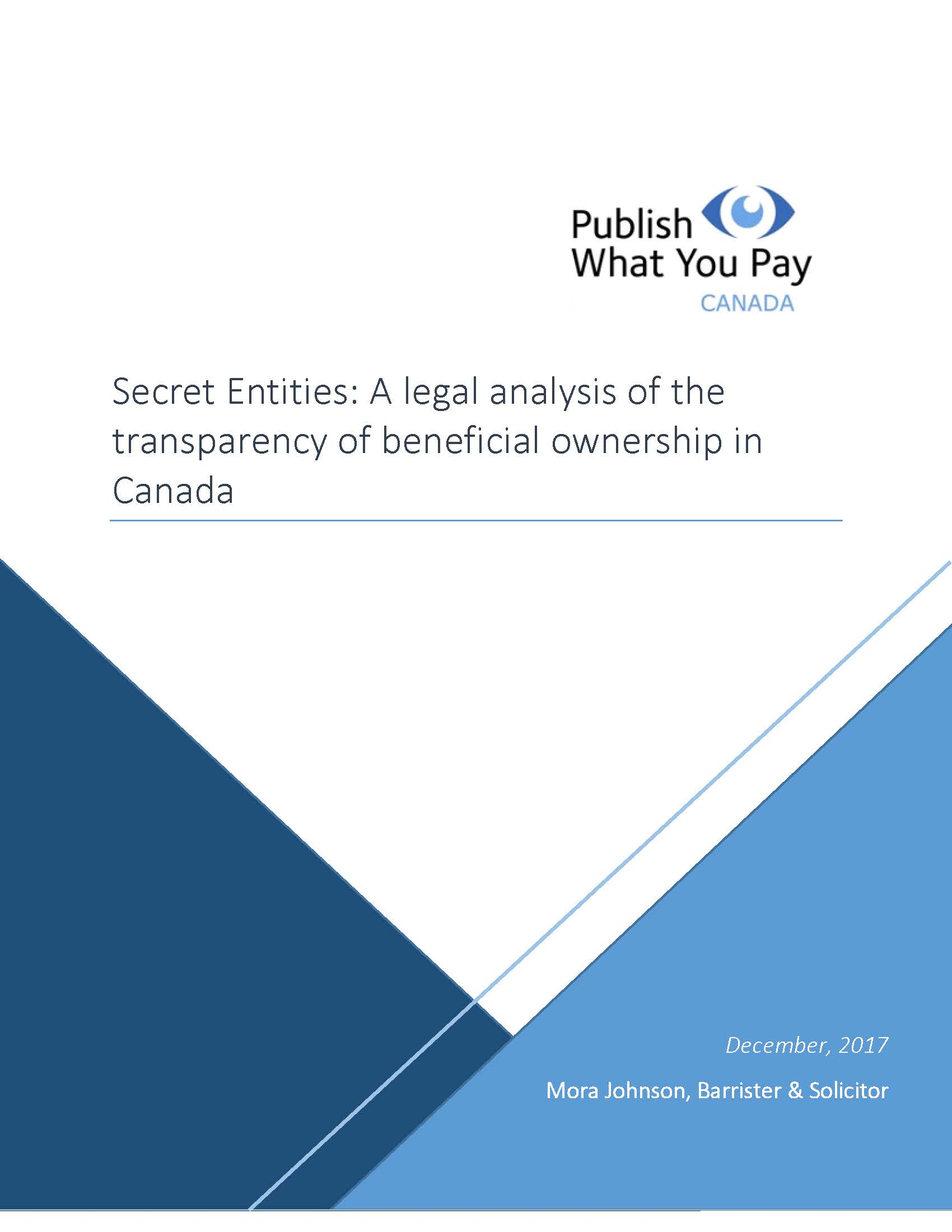 Secret Entities - Publish What You Pay Canada, 2017
