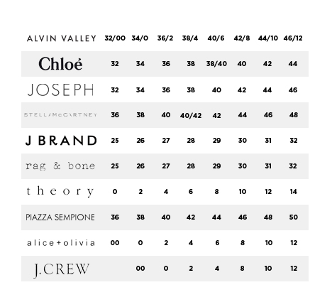 COMPARE YOUR SIZE FROM OTHER BRANDS