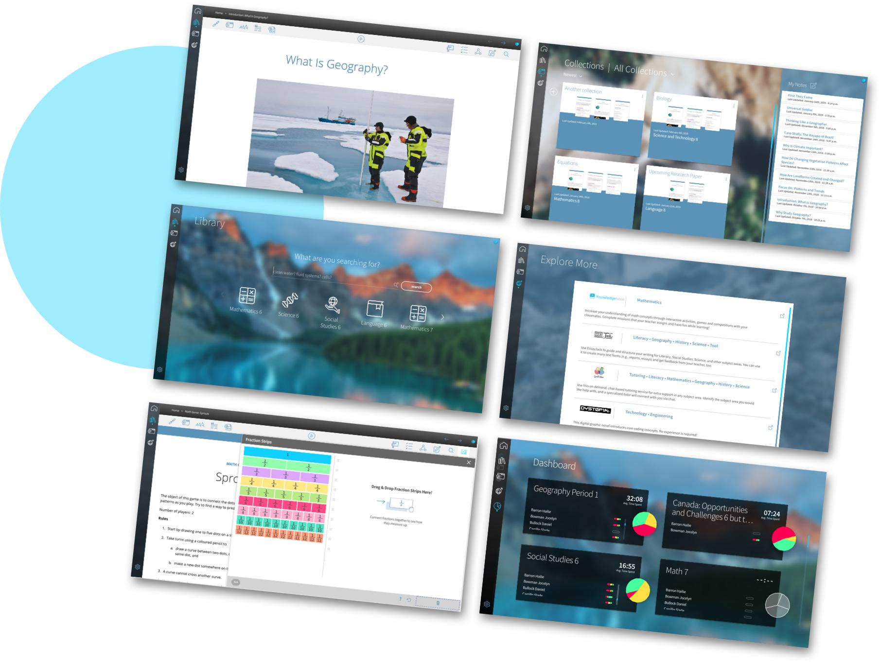 six floating Edwin UI screens