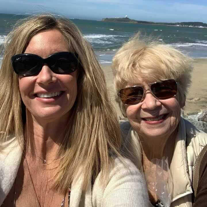 With her mom, Jill