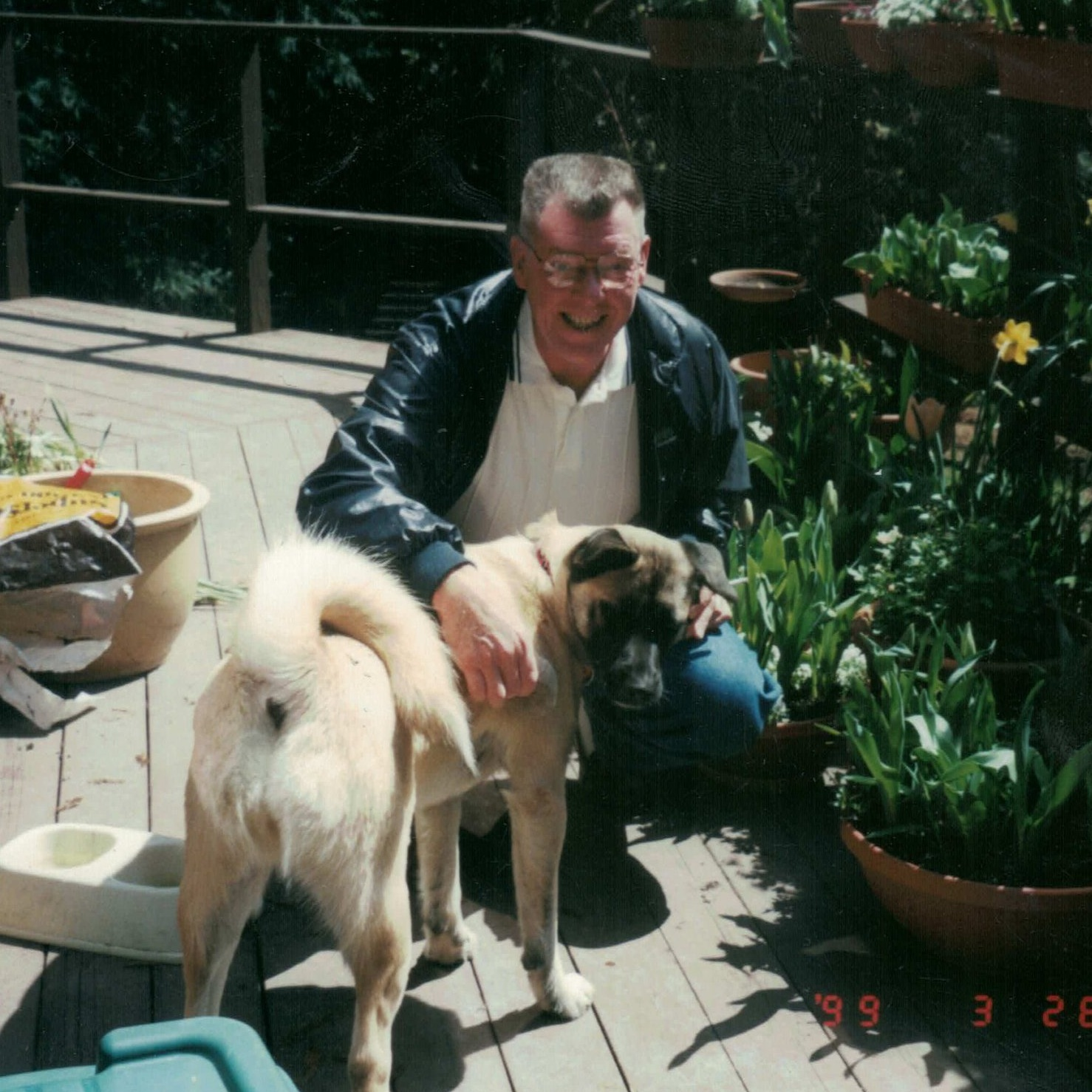Jenny's dad with her dog Treasure