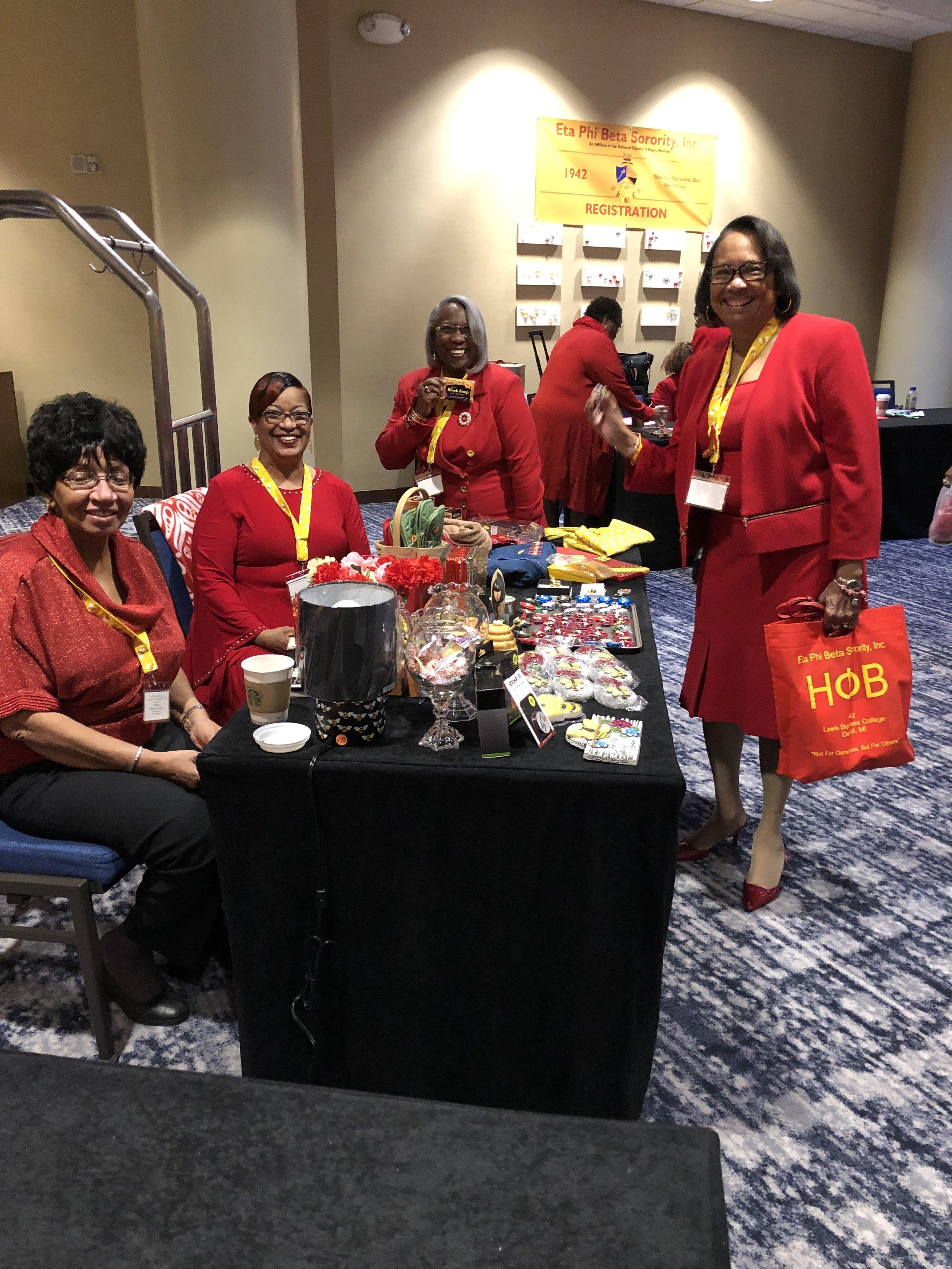 Alpha Theta's vending table at the Grand Executive Board Meeting, Arlington, VA, March 2019