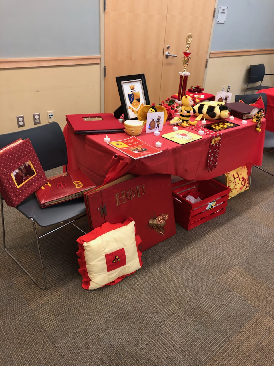Alpha Theta Chapter's Display Table at the January 2019 Interest Meeting