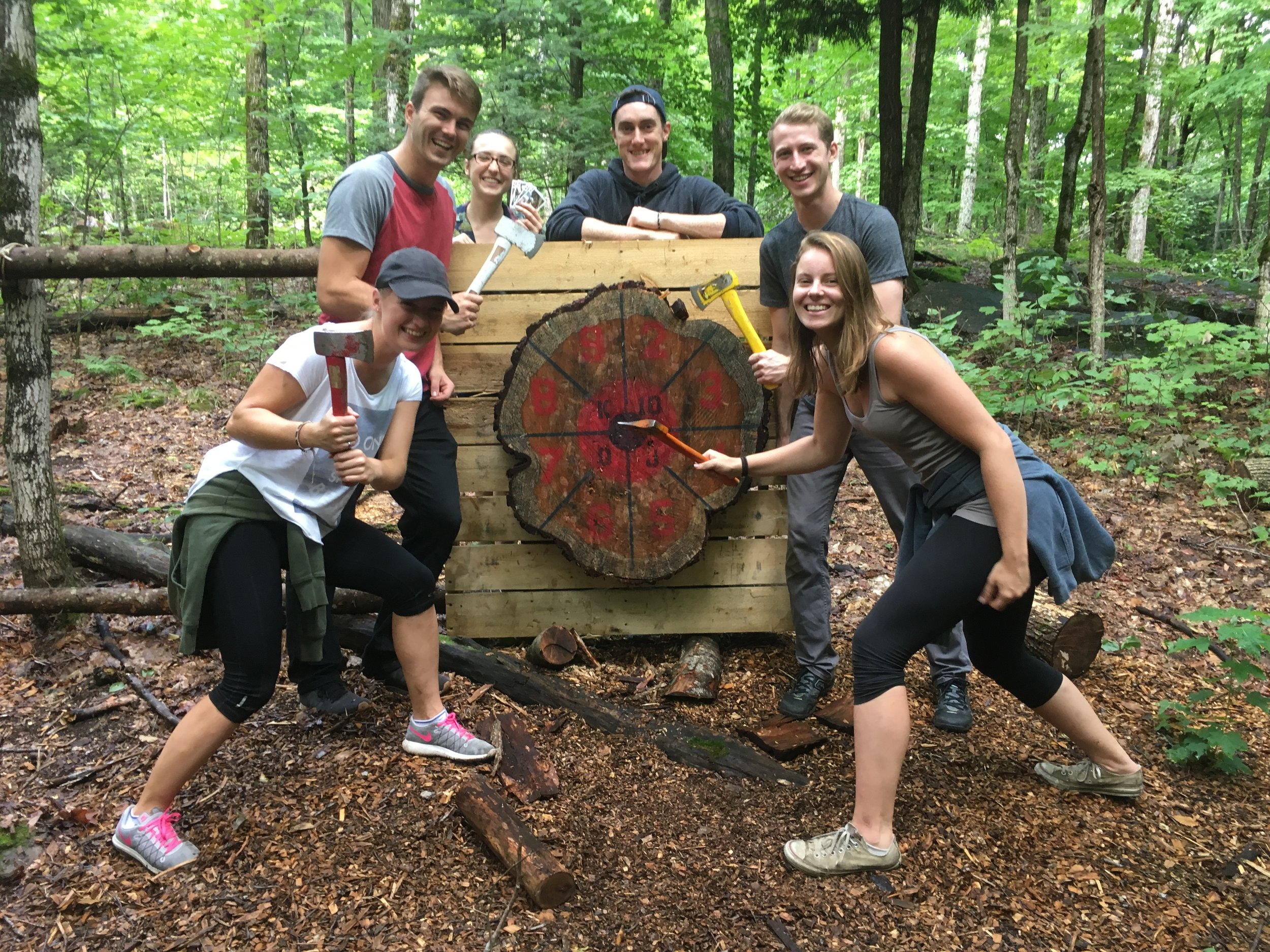 Axe Throwing muskoka Style - Axe throwing in the Forest and a game of poker combined.Bushpoker Axe Throwing, A Muskoka First