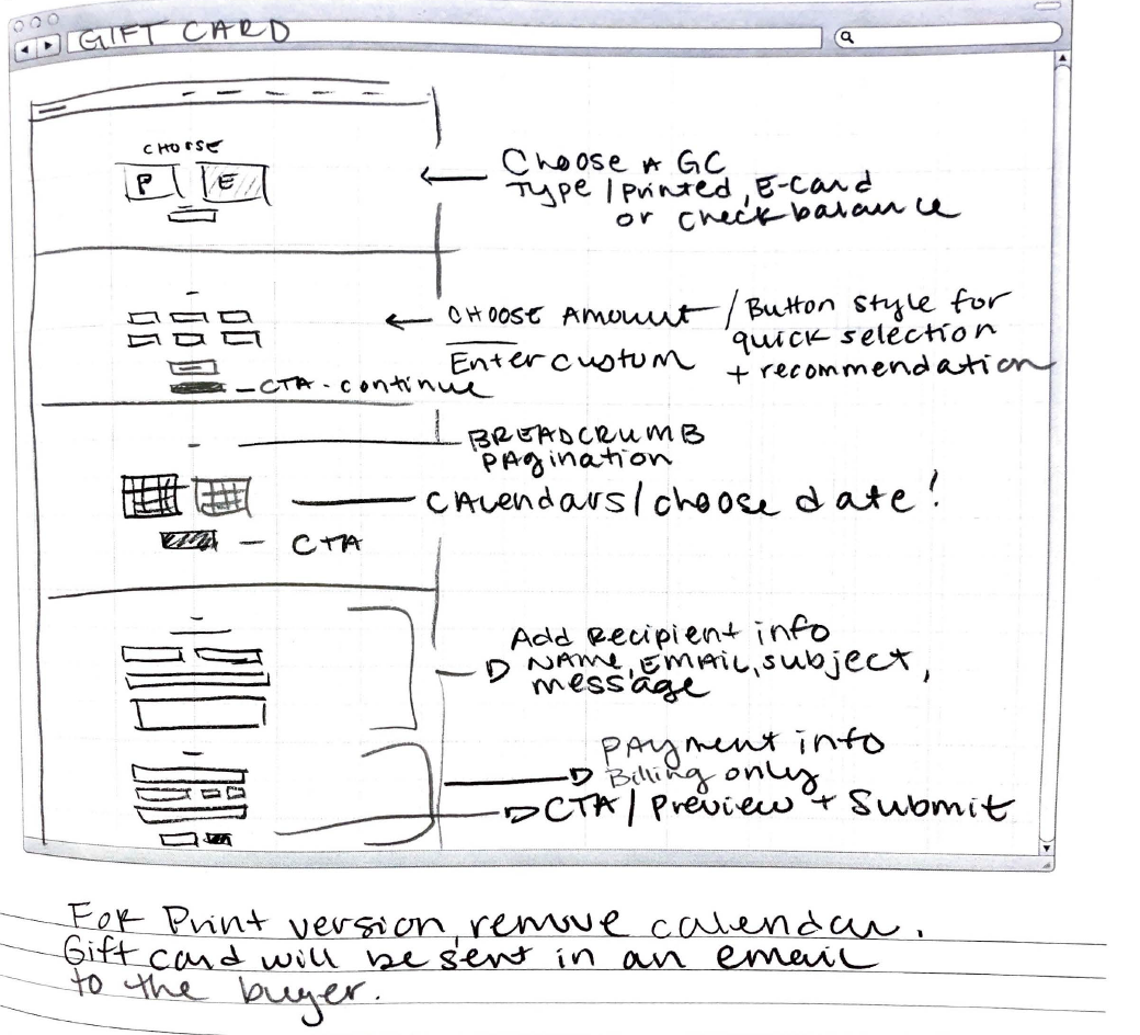 The Process - I first did a quick sketch wireframe to get my ideas down on paper. To make this simple and easy to follow for users, I chose to use buttons / calendar graphics / a pagination / and prominent calls to action. Incorporating the payment process within the page was imperative to keeping the user engaged, and give them a sense of completion at the very end.
