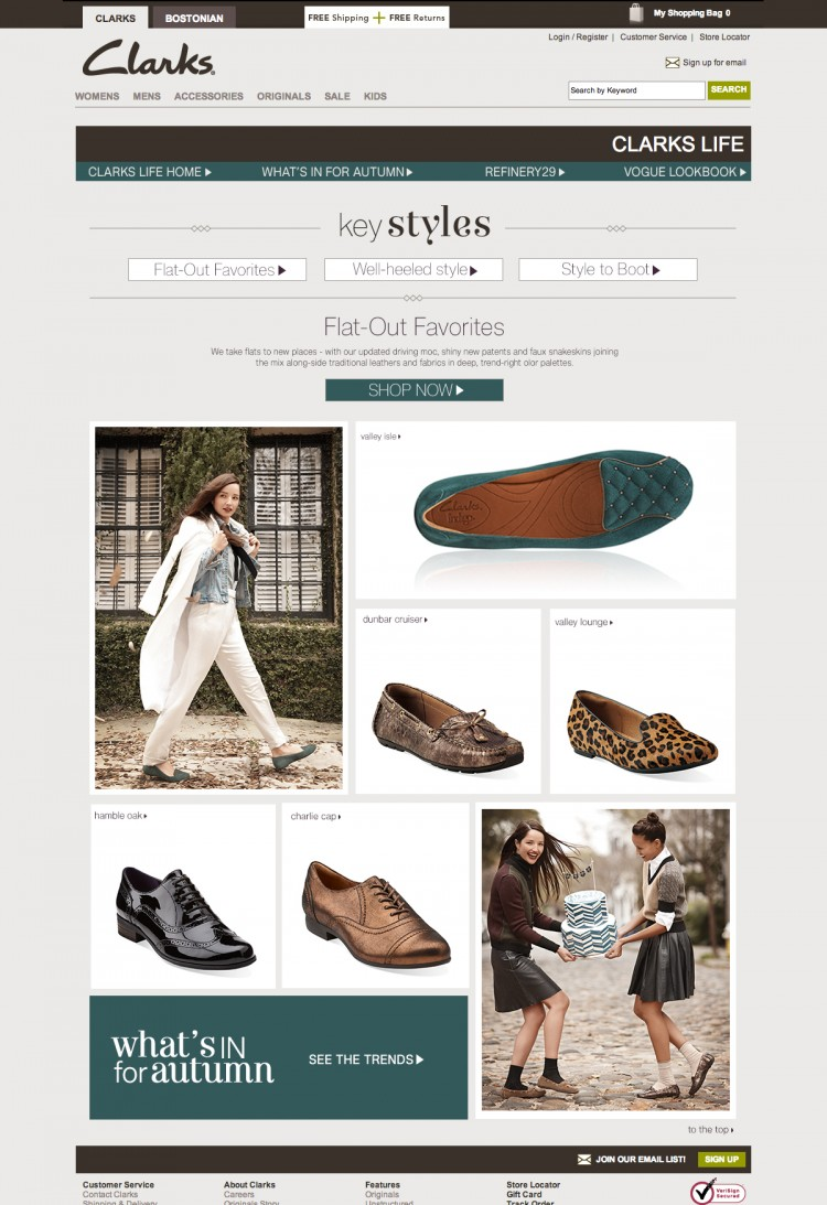 Page layout, design & execution - Created wireframes, visual design and web development for new pages on the website. This particular example used a mix of lifestyle and product photography. The layout was meant to be an online look-book, highlighting different styles in correlation with product. There is a main call to action at the top, product links throughout the page, and another larger call to action at the bottom.