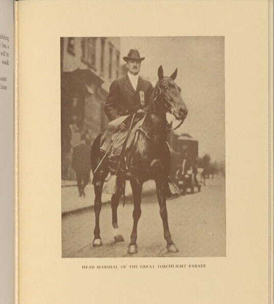 James Lees Laidlaw as Head Marshal in the Torchlight Parade of 1912 . (Courtesy of Schlesinger Library, Radcliffe Institute, Harvard University, from the memorial book, James Lees Laid Law [Privately printed, 1932.])
