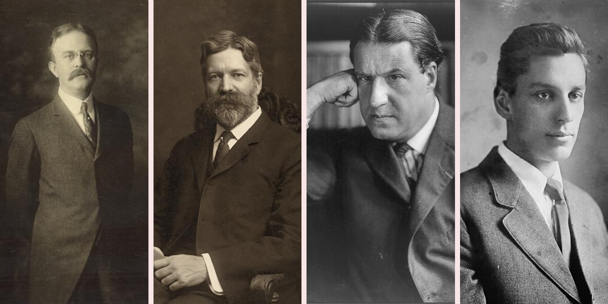 From left to right: Oswald Garrison Villard, George Foster Peabody, Stephen S. Wise, Max Eastman. (Photos courtesy of the Library of Congress)