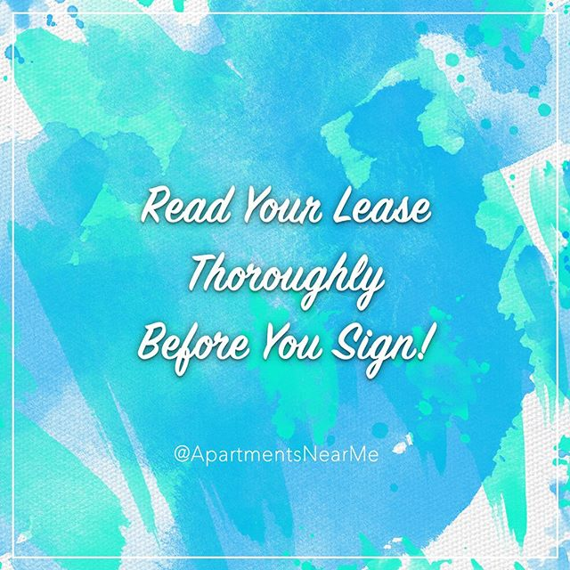 Don't be surprised by fee's and deposits!!! Reading your lease lets you know exactly what you are getting into when signing for a new apartment!