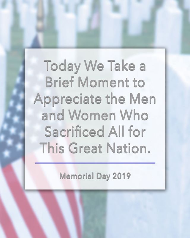 Today is a very special day and it's extremely important that we never forget the sacrifices the Service Men and Women make for the United States. A special thanks to the active duty Service Members, their Families and the ones who laid down their lives protecting our freedoms. #MemorialDay